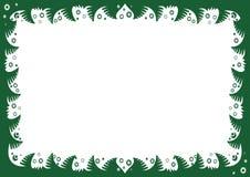 Cadre de Noël avec des branches et des flocons de neige de sapin Image stock