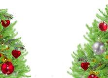 Cadre de Noël avec des brindilles d'arbre de sapin Image stock