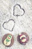 Cadre de Noël avec des chiffres de chocolat Photographie stock libre de droits