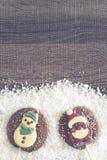 Cadre de Noël avec des chiffres de chocolat Image stock