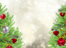 Cadre de Noël avec l'arbre et la neige de sapin Photos stock
