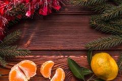 Cadre de Noël avec l'arbre de Noël et mandarines sur le dessus Photos stock