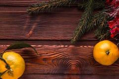 Cadre de Noël avec l'arbre de Noël et mandarines sur le dessus image libre de droits