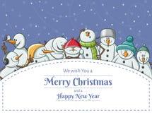 Cadre de Noël avec l'illustration drôle de jeu de caractères de bonhomme de neige Photographie stock