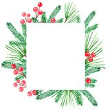 Cadre de Noël avec les branches vertes de douleur et les baies rouges illustration de vecteur