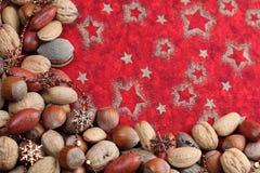 Cadre de Noël de noix Photo stock