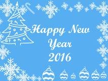 Cadre de Noël et de la nouvelle année 2016 sur le fond bleu Images stock