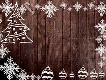 Cadre de Noël et de nouvelle année sur le fond en bois Photo libre de droits