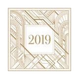 Cadre de nouvelle année de l'art déco 2019 d'isolement sur le fond blanc illustration de vecteur