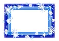 Cadre de pétillement bleu de flocon de neige Photos stock