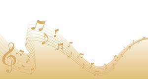 Cadre de page de musique de feuille d'or Photographie stock