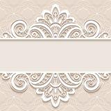 Cadre de papier ornemental avec la frontière de dentelle Image libre de droits