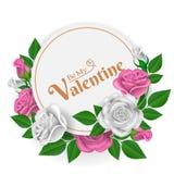 Cadre de papier rond avec des roses Photo stock