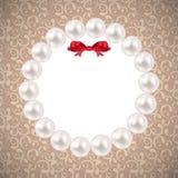 Cadre de perle de vintage avec le fond d'arc Vecteur Photographie stock libre de droits