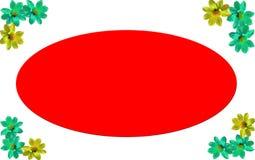 Cadre de photo avec le fond blanc et fleurs colorées sur des coins avec l'espace chromatique de rouge Images stock