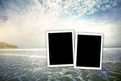 cadre de photo de fillter de vintage au hin de hua de mer en Thaïlande Image libre de droits