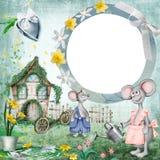 Cadre de photo de maison de souris Bannière de beauté pour la fête de naissance illustration stock