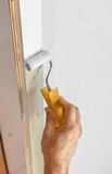 Cadre de porte en bois de peinture Photographie stock libre de droits