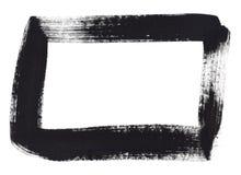 Cadre de rectangle de peinture de main noire Images stock
