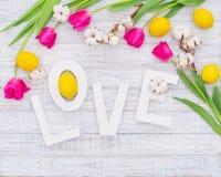 Cadre de ressort et mot décoratifs d'amour Image stock