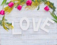 Cadre de ressort et mot décoratifs d'amour Photos libres de droits