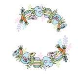Cadre de rond de Pâques avec des oeufs, des fleurs et des carottes illustration de vecteur