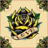 Cadre de Rose, de ruban et de roses Photographie stock