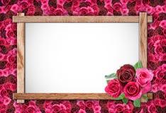 Cadre de Rose et en bois Photos stock