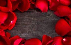 Cadre de Rose Petals rouge fraîche sur Gray Wood Table photographie stock libre de droits