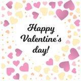 Cadre de Saint Valentin avec le petit fond de coeurs de couleur Photos stock