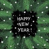 Cadre de sapin de vecteur des vacances 2018 de bonne année Image stock