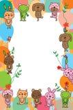 Cadre de souris de lapin de grenouille d'ours de chien de chat Images stock