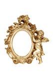 Cadre de tableau baroque ovale d'or Photographie stock