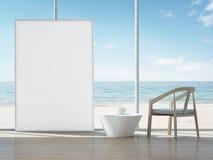 Cadre de tableau blanc dans l'intérieur de vue de mer de la maison moderne Illustration Stock