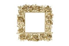 Cadre de tableau d'or avec le décor rose Photographie stock