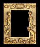 Cadre de tableau d'or sur le fond noir Photo libre de droits