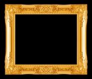 Cadre de tableau d'or sur le noir Photos libres de droits