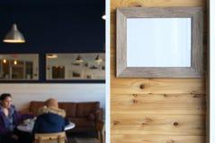 Cadre de tableau dans le café Photo stock