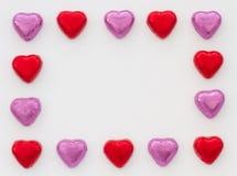 Cadre de tableau de coeur de chocolat Photographie stock
