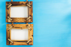 Cadre de tableau de photo sur le bois photos libres de droits
