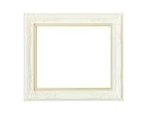Cadre de tableau en bois blanc de vintage d'isolement Photographie stock libre de droits