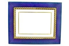 Cadre de tableau en bois bleu vide Image libre de droits