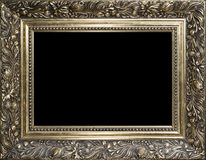 Cadre de tableau en bois d'or vide décoratif Photo stock