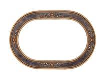 Cadre de tableau en bois ovale antique d'isolement Photo stock