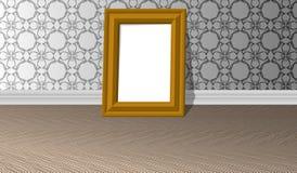 Cadre de tableau horizontal d'or vide sur un mur blanc avec les modèles et le plancher de parquet, calibre de conception illustration libre de droits