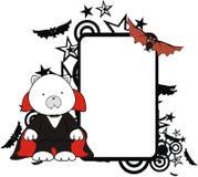 Cadre de tableau mignon de Halloween de bande dessinée de costume de Dracula d'ours blanc illustration libre de droits