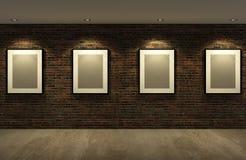 cadre de tableau sur le vieux mur de briques avec le plancher en b ton images stock image. Black Bedroom Furniture Sets. Home Design Ideas