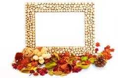 Cadre de tableau vide avec les fleurs et les lames sèches photos stock