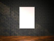 Cadre de tableau vide sur le brickwall noir rendu 3d Photos libres de droits
