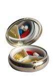Cadre de tablette de poche avec la tablette et les capsules Photographie stock libre de droits